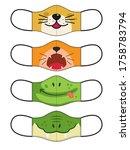 set of designs reusable mouth... | Shutterstock .eps vector #1758783794