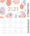 calendar 2021. abstract modern... | Shutterstock .eps vector #1758807401