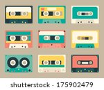 set of various audio tapes in... | Shutterstock .eps vector #175902479