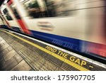 mind the gap sign with speeding ... | Shutterstock . vector #175907705