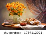 Tea Table With Vase Of Flowers...