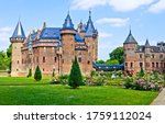 Small photo of Castle park in summer landscape. Fable castle landmark. Castle in summer. Castle park view