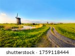 Dutch Rural Windmll Farm Road...
