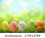 row of easter eggs in fresh... | Shutterstock . vector #175913789