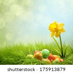 Easter Eggs On Green Grass Wit...