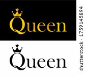 queen logo with crown and stars ...   Shutterstock .eps vector #1759145894