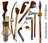 american,arms,arrows,ax,blade,collection,curve,decoration,detailed,graphic,grip,gun,hand,handle,illustration