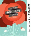 happy birthday card design... | Shutterstock .eps vector #175941077