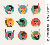 diverse group of happy people...   Shutterstock .eps vector #1759434944