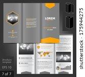 vector gray brochure template... | Shutterstock .eps vector #175944275