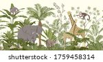 jungle animal wallpaper with...   Shutterstock .eps vector #1759458314