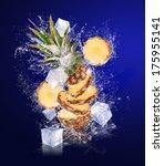 sliced pineapple falling in... | Shutterstock . vector #175955141