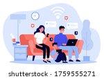 family suffering from social... | Shutterstock . vector #1759555271