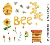 Watercolor Bee Set With...