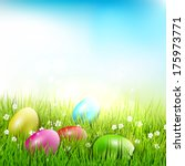 easter eggs in the grass  ... | Shutterstock .eps vector #175973771