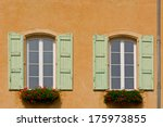 windows with open wooden... | Shutterstock . vector #175973855