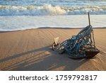 Rusty Anchor Wet Beach Sand An...