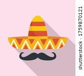 Mexican Sombrero Mustache Icon. ...