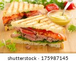 panini closeup with roast beef... | Shutterstock . vector #175987145