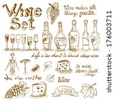 set of wine elements for design ... | Shutterstock . vector #176003711