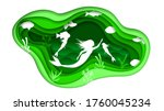eco green paper cut background... | Shutterstock .eps vector #1760045234