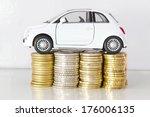 car on coin stacks | Shutterstock . vector #176006135