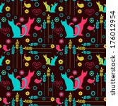 cute seamless pattern with... | Shutterstock .eps vector #176012954