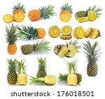 pineapple isolated on white... | Shutterstock . vector #176018501