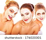 group women with  facial mask... | Shutterstock . vector #176020301