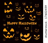 spooky halloween faces on black ... | Shutterstock . vector #17602459