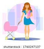 a young mother with a stroller... | Shutterstock .eps vector #1760247137