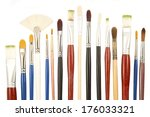 paint brushes close up isolated   Shutterstock . vector #176033321