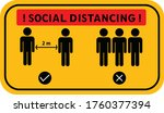 social distancing sign and...   Shutterstock .eps vector #1760377394