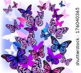 flying butterflies with hearts... | Shutterstock .eps vector #176040365