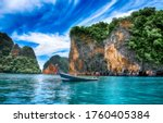 Boat In Calm Water Of Phuket...