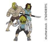 creepy zombies illustration... | Shutterstock .eps vector #1760408591