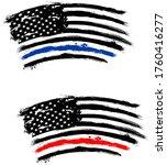 thin blue line us flag. flag... | Shutterstock .eps vector #1760416277