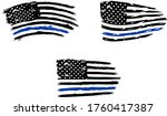 thin blue line us flag. flag... | Shutterstock .eps vector #1760417387