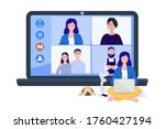 a woman having online group... | Shutterstock .eps vector #1760427194