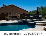 A Travertine Patio With A...