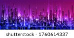 night city skyline with neon... | Shutterstock .eps vector #1760614337