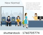 receptionist at office wearing...   Shutterstock .eps vector #1760705774