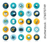 Set of flat design icons for Business, SEO and Social media marketing  | Shutterstock vector #176070749
