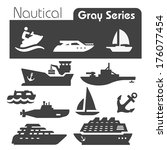 nautical icons gray series  | Shutterstock .eps vector #176077454