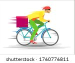 courier on a bicycle with a box ...   Shutterstock . vector #1760776811