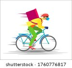 courier in a mask and gloves on ...   Shutterstock . vector #1760776817