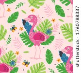 seamless pattern with cute pink ... | Shutterstock .eps vector #1760788337