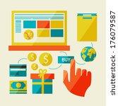 e commerce symbols internet... | Shutterstock .eps vector #176079587