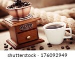 cup of coffee with coffee... | Shutterstock . vector #176092949