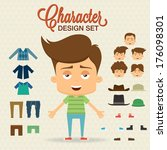 Cute character design with elements, accessories,clothes. Prepared for animation